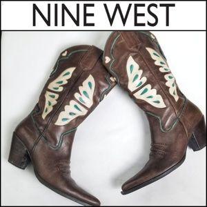 NINE WEST Leather Western Cowboy Boots!